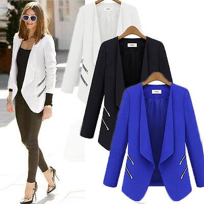 Fashion Women OL Ladies White Black Blue Slim Suit Coat Blazer Jacket Zipper HOT