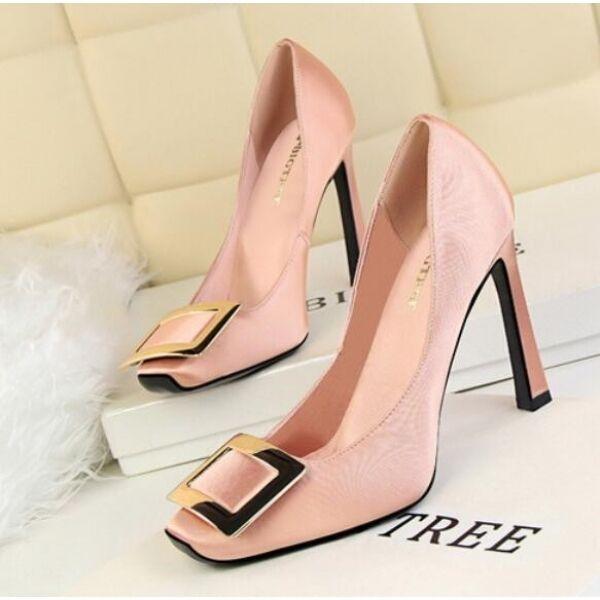 zapatos  de salón mujer alto refinada talón cuadrado cuadrado cuadrado 10 elegantes rosa como piel 3dea8d