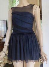 Kate Moss Topshop Blue + Black = Midnight Blue Silk Tulle Dress UK 8