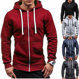 Men-039-s-Solid-Zip-Up-Hoodie-Classic-Winter-Hooded-Sweatshirt-Jacket-Coat-Top-Tops
