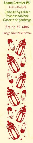 Babyflasche und Pins Prägeschablone Embossing Folder von Leane Creatief