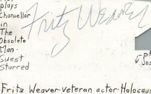Fritz Weaver Actor Twilight Zone TV 1961 Movie Autographed Signed Index Card