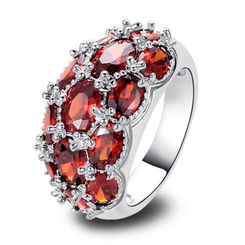 Oval Granat Edelstein vergoldet Damering Finger Ringe Verlobungsring Eheringe