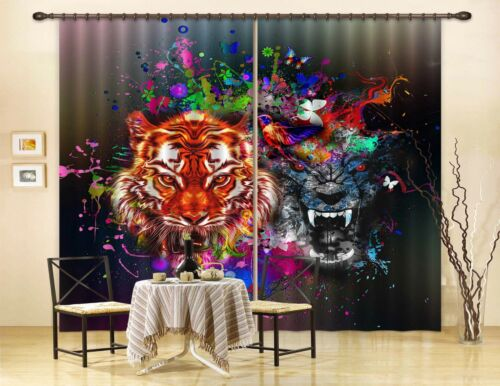 3D Tiger Pattern 6 Blockout Photo Curtain Print Curtains Drapes Fabric Window AU