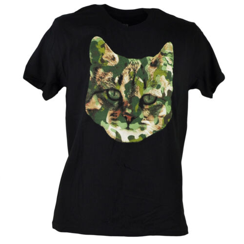 Urban Pipeline Camouflage Kitten Head Hat Black Mens Graphic Tshirt Tee