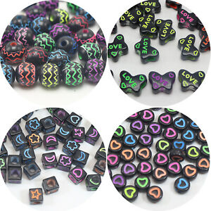 Craft-DIY-Black-With-Neon-Color-Various-Shape-Butterfly-Spacer-Beads-Kids-Crafts