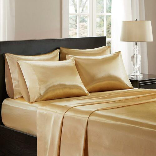 Double And King Size Reversible Satin Complete Set 6 Piece 5 Colours