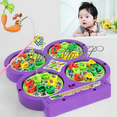 Electric Rotating Magnetic Magnet Fishing Kid Children Educational Toy Game