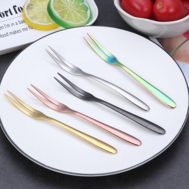 10PCS Stainless Steel Dinner Meal Salad Fruit Cake Dessert Fork Tableware Set
