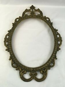 Antique-Victorian-Ornate-Brass-Metal-Oval-Picture-Frame-17-034-X-12-034