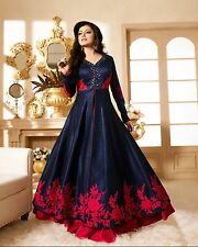 Special Collection For Eid Navy Blue Red Full Floral Length Mirror Work Dress