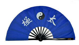 "Chinese Kung Fu Tai Chi Wushu Martial art Dance Fan Black bone Blue ""Taichi"" fan"