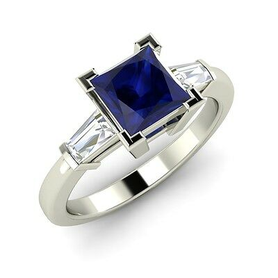 Princess Cut Natural Blue Sapphire and Diamond Engagement Ring in 14k White Gold