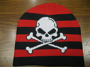 Red and Black Striped Skull and Crossbones Beanie Winter Knit Hat ... ae002ec64d3f