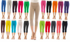 3//4 Leggings Damen Capri Leggins aus Baumwolle