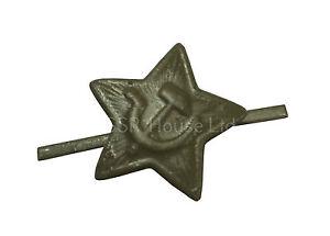 Soviet-USSR-Russian-Army-Military-Green-Star-Ushanka-Hat-Cap-Beret-Metal-Badge