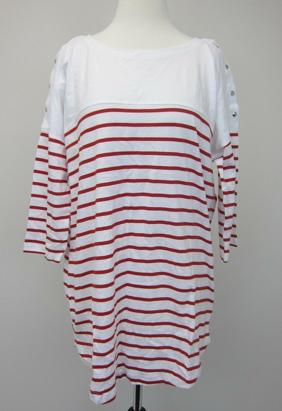 Seraphine Women's Striped Cotton Maternity & Nursing Top US 12 White Red  NWT