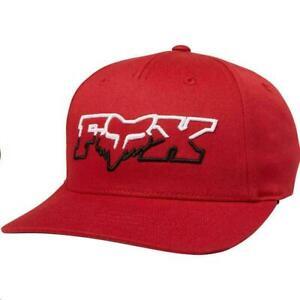 New Genuine Fox Racing Youth Kids DuelHead Flexfit Hat Cap Cardinal Red