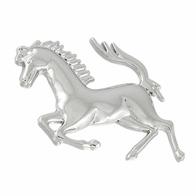 Silver Tone Horse Logo Emblem Badge 3D Sticker for Car SYSZAU