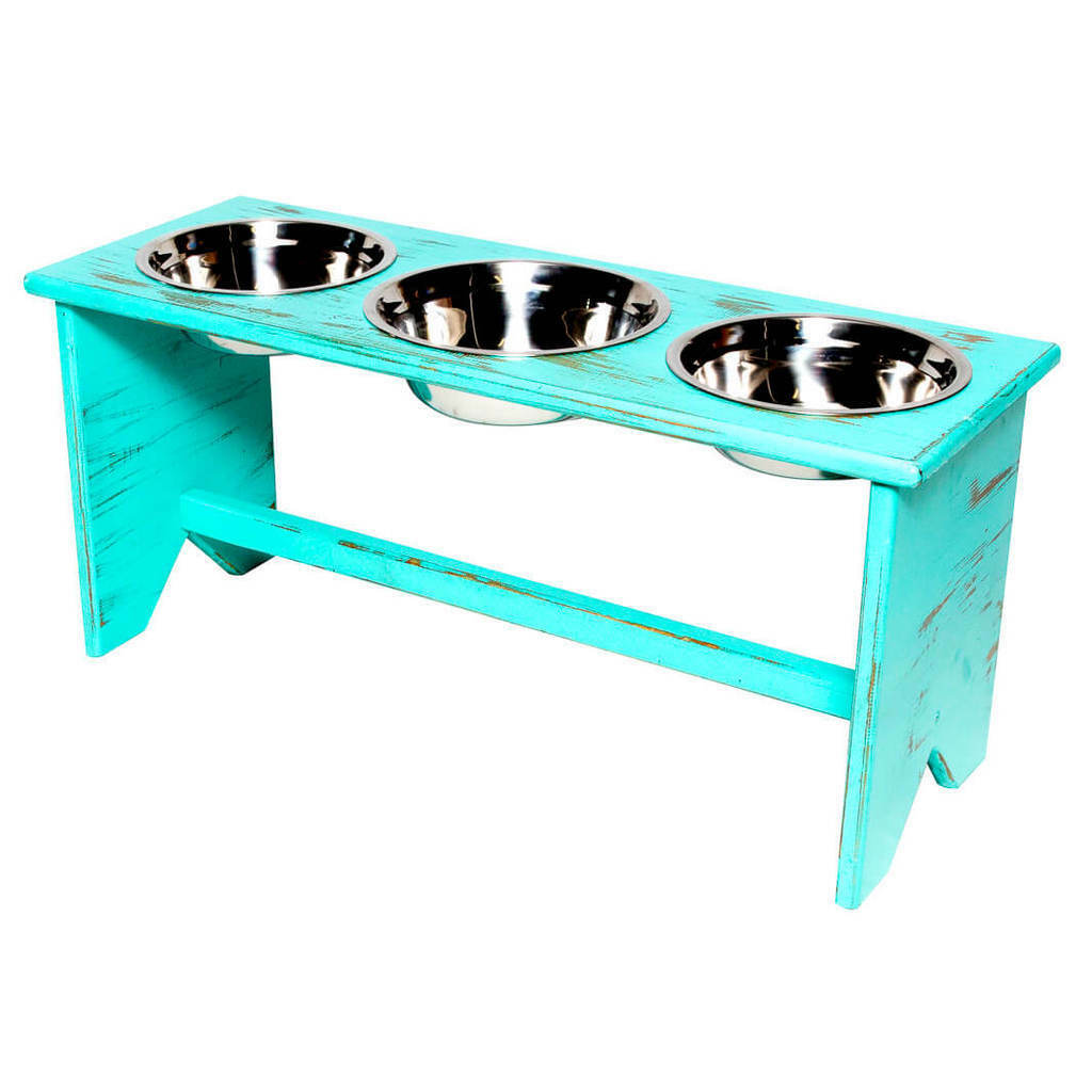 Elevated Dog Bowl Stand - Wooden - 3 Bowls - Bigger Middle Bowl - 400mm 16  Tall