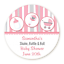 Shake Rattle Roll Pink 8 sizes Round Personalized Baby Shower Sticker Labels