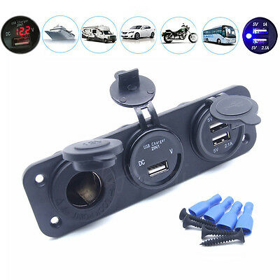 2 USB Charging Socket Power Voltmeter Motorcycle Phone Car Boat GPS iPhone Truck