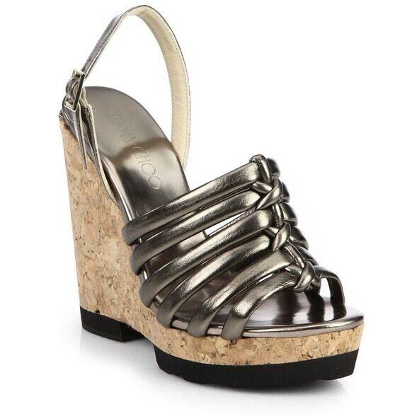 più preferenziale Jimmy Choo 'Nimosa' Metallic Pewter Knot Wedge Platform Sandals Sandals Sandals Dimensione 36.5 6.5  acquisto limitato