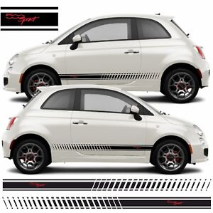 Fiat 500 Sport >> Details About Fiat 500 Sport Side Stripes Graphics Decals Stickers Vinyls Any Colours