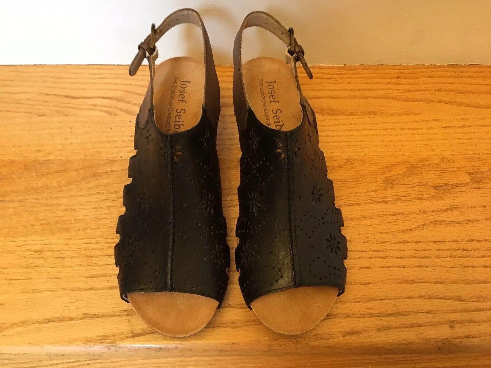 Josef Seibel, Ruth 01 Sandals Black Black Black Leather Size 37M, 6M - 6.5M New without Box a0ef15