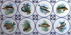 fliesen 15x15 nach delfter 8er set art blau wei antike fisch karpfen aal ebay. Black Bedroom Furniture Sets. Home Design Ideas