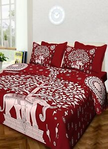 Image Is Loading Indian Tree Printed Handmade Cotton Queen Bed Sheet