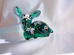 Vintage Fenton Art Glass Painted Grapes Gold on Green Deer Fawn Doe Figurine