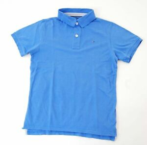 Tommy Hilfiger Poloshirt Polohemd Damen Gr.14 blau uni Piquè -S1092