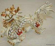 ANTIQUE CHINESE IMPERIAL 5 CLAW DRAGON RARE PORCELAIN FIGURINE 8IN LONG NB
