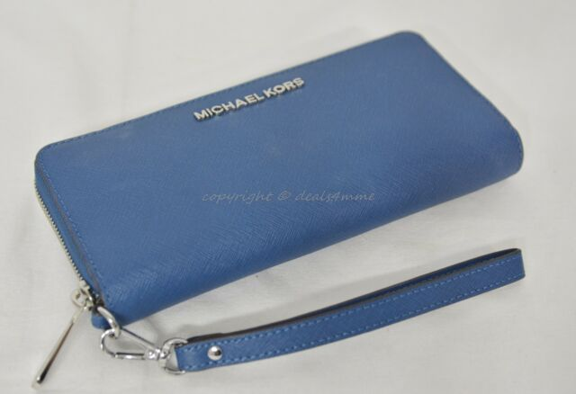 a07e873b54a407 Michael Kors Jet Set Travel Continental Wallet in Steel Blue Saffiano  Leather