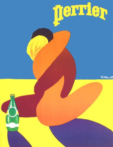 Perrier VINTAGE Print Villemot art painting Poster yellow blue old