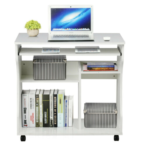 Wood Computer Desk Workstation Study PC Table Home Office Furniture with Wheels
