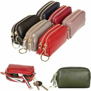 Small-Womens-100-Real-Leather-Coin-Purses-Double-Zip-Card-Cash-Pocket-Wallets