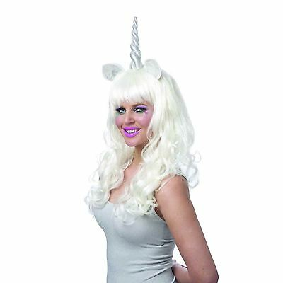 Womens Pink Silver Magical Unicorn Pony Horn Costume Long Wig DIY Festival Group