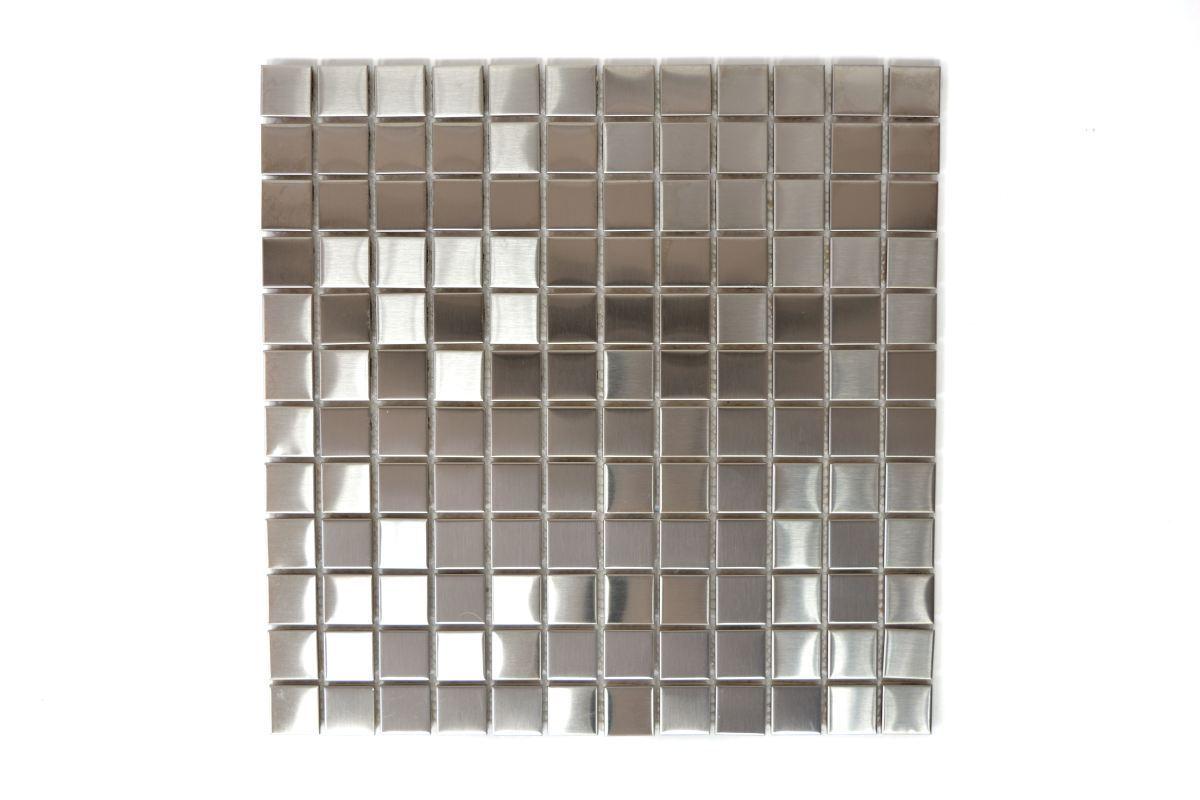 Mosaik Fliese Edelstahl silber Stahl gebürstet Wand Küche | 129-23D_f | 10Matten