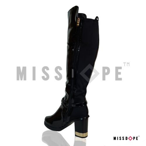 NEW BLACK PATENT KNEE THIGH HIGH BOOTS LADIES METALLIC WOMENS BLOCK HIGH HEELS