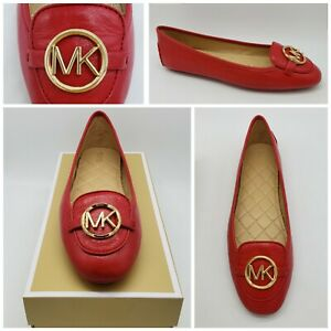 Michael-Kors-Womens-Lillie-Moc-Bright-Red-Leather-Ballet-Flats-Size-8-5-M-NEW