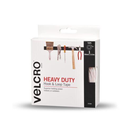 VELCRO® Brand HEAVY DUTY HOOK /& LOOP TAPE Ultra Thin WHITE– 25mmx1m Or 50mmx2.5m