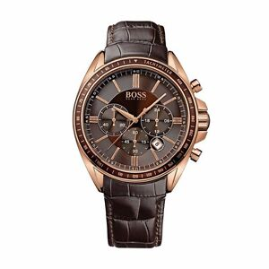 Hugo-Boss-1513093-Men-039-s-Watch-Chronograph-PVD-Rose-Gold-Plated-Brown-Leather