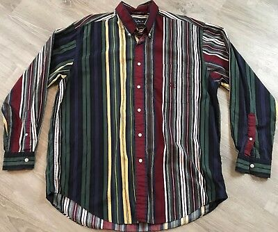 90s Multi Color Striped Blouse XL 1990s Button Down Short Sleeve