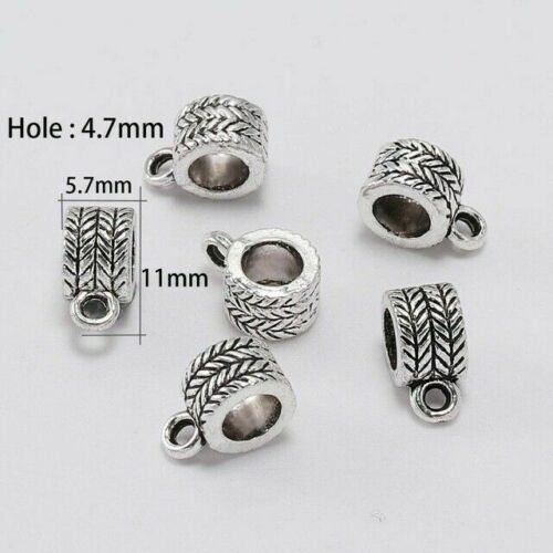 20pcs Antique Silver Clip Bail Beads Pendant Clasp Jewelry Necklace Connector #F