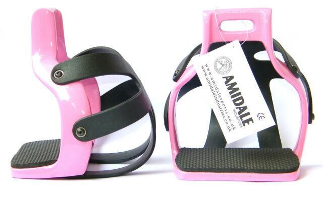 AMIDALE ALUMINIUM ENDURANCE FLEX RIDE CAGED SAFETY HORSE STIRRUPS PINK COLOR