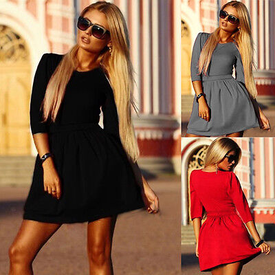 Summer Sexy Women Party Dress Evening Cocktail Casual Long Sleeve Mini Dress New