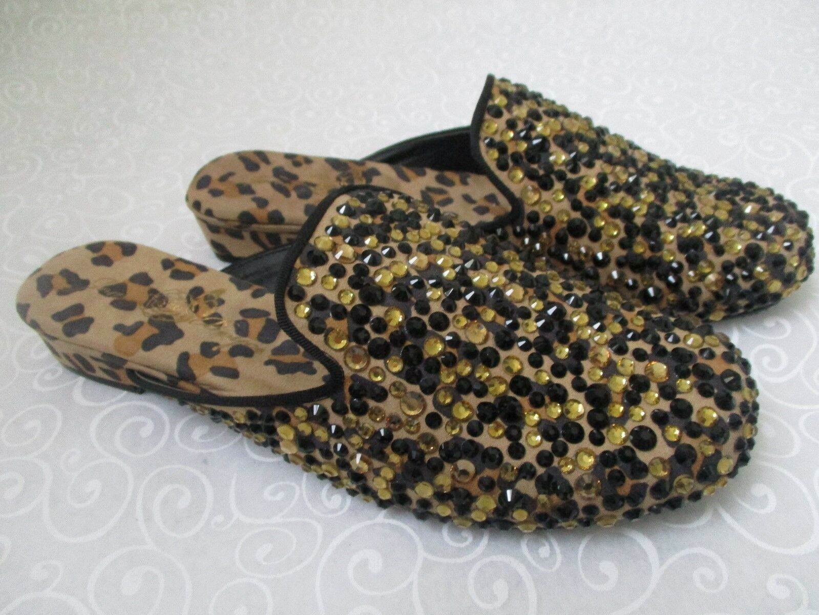 JOAN BOYCE LEOPARD RHINESTONE SLIDES SHOES SIZE 7 1/2 M - NEW