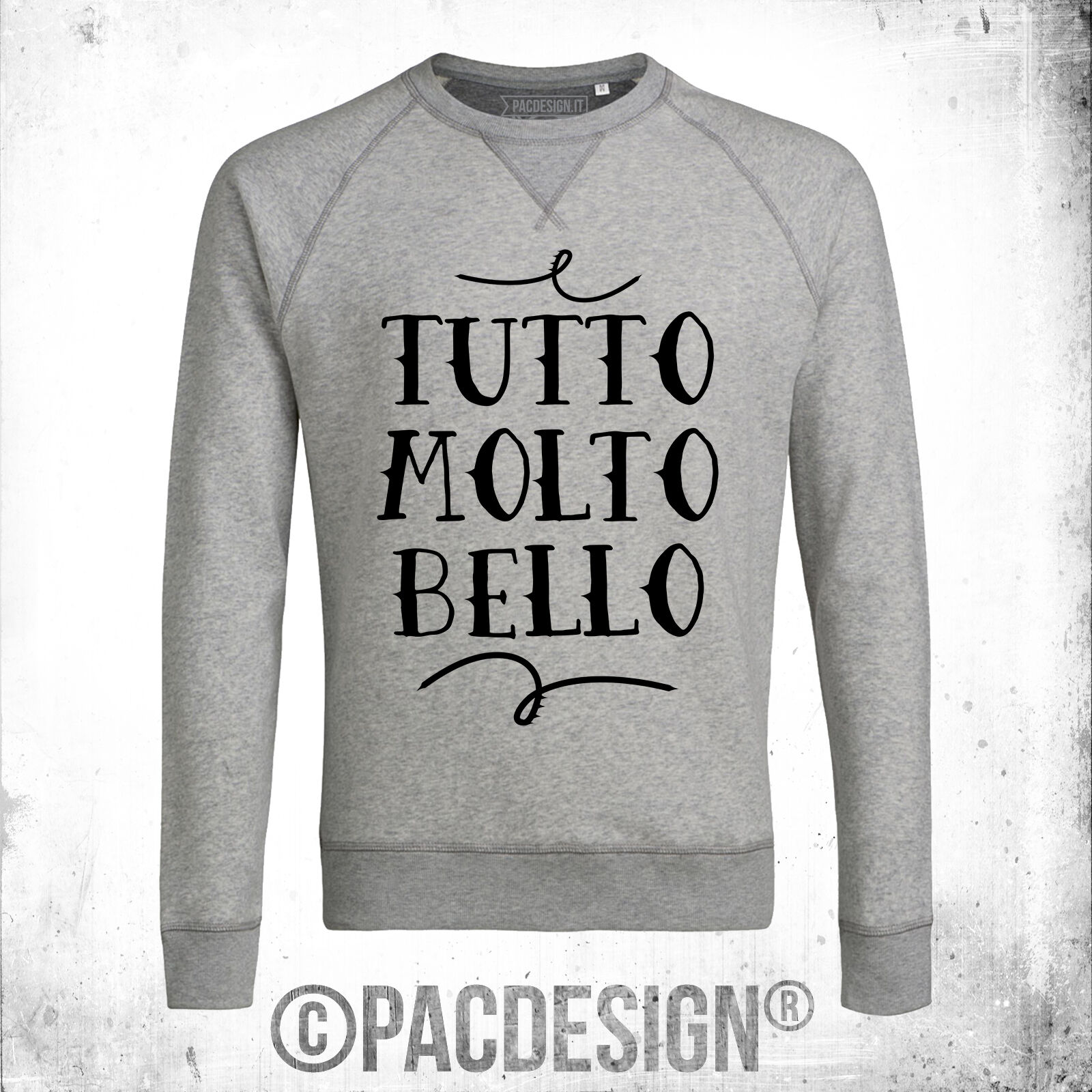 FELPA UOMO WORDS TUTTO MOLTO BELLO FASHION IRONIC WHY SO VINTAGE DK0460A